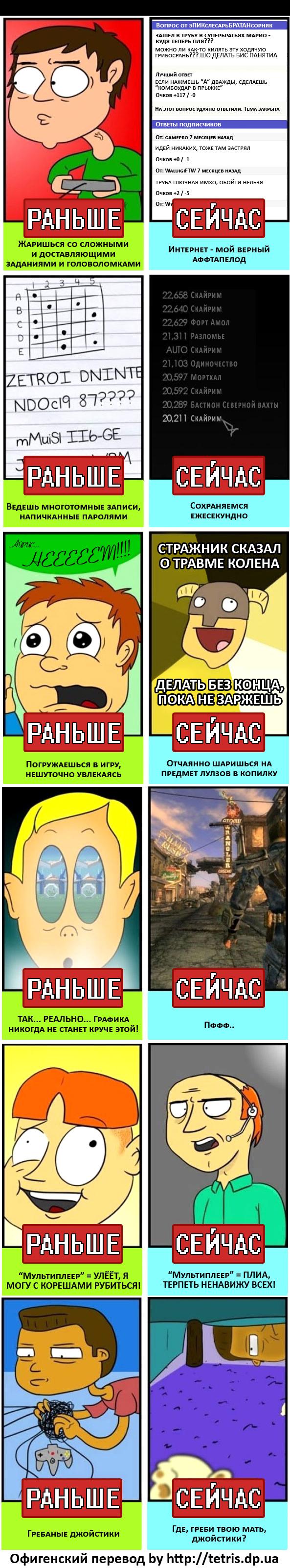 "Свежий юмористический стрип ""Раньше/Сейчас"""